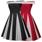 Plus Retro Vintage Womens Off Shoulder Polka Dots Bridesmaid Flared A-Line Dress