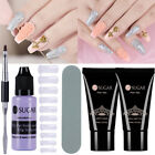 2Pcs Poly Quick Building Gel+Slip Solution+Nail Art False Mold Tips+Brush Set