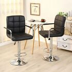 Set of 2 -  30 Inch Swivel Bar Stools High Back With Arms Retro Chrome Hydraulic