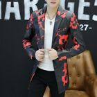 Men's Clothes Floral Jacket Faux Leather Coat Lapel Business Blazers Ch8 fashion