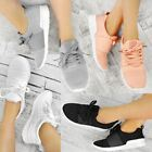 Womens Ladies Sport Fashion Trainers Flat Running Sneakers Fitness Gym Shoe Size