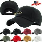 Lit Embroidery Dad Hat Cotton Adjustable Baseball Cap Unconstructed