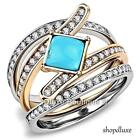 Stunning Turquoise CZ Stainless Steel 3 Piece Wedding Ring Set Women's Size 5-10