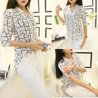USA Women Elegant Print Loose Chiffon Long Sleeve Blouse Tops Casual Shirt S-XL