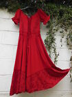 "RED MAXI DRESS LACE UP BODICE 32"" - 42"" BUST BNWT GYPSY ETHNIC HIPPY PEASANT"