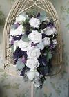 Scottish Bride Teardrop Wedding Bouquet Thistle Lavender Heather Rose Calla Lily