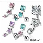Triple CZ Droplet Tragus/Cartilage Piercing Stud 316L Surgical Steel Earring image