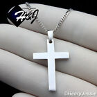 "16-24""men 925 Sterling Silver 2mm Miami Cuban Chain Plain Cross Pendant*sp194"