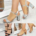 Ladies Womens Low Block Heel Party Bridal Glitter Sandals Wedding Prom Shoes Sz