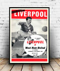 Liverpool V  West Ham Charity: Vintage Cover, Wall art ,poster, Reproduction.