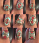 ETHNIC WOMEN JEWELRY VINTAGE TURQUOISE RING CORAL RING TIBETAN SILVER RING