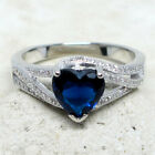 SUPERB 2 CT HEART SAPPHIRE BLUE 925 STERLING SILVER RING SIZE 5-10