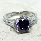 WONDERFUL 2 CT ROUND AMETHYST PURPLE 925 STERLING SILVER RING SIZE 5-10 image