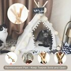 Pet Teepee Dog Cat Bed Portable Pets House Kitten Kennel Tent Beige Pompom Fold