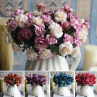Pop 15 Heads Artifical Silk Rose Flower Bouquet Home Wedding Party Decor Uk