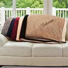 Personalized Sherpa Embroidered Throw Blanket Family Name Throw Micro Mink