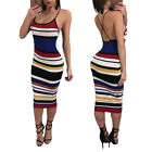 Sexy Women's Ladies Sleeveless Bandage Color Stripe Clubwear Party Casual Dress