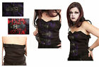 Jordash Dark Star Gothic Fleur Buckle Lace Up Basque Corset Black Red Purple S M
