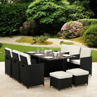 11 Piece 10 Seater Rattan Cube Dining Table Garden Furniture Patio Set Outdoor