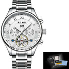 LIGE Watch Men chronograph steel dial stainless quartz analog leather  Luxury