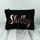 Personalised Make Up Bag Pencil Case ANY NAME In Rose Gold Birthday Present Gift