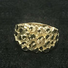 Men's Real 10K Yellow Gold Nugget Style Custom Designer Fancy Pinky Ring SIZABLE