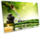 Green Zen Stones Bamboo Picture SINGLE CANVAS WALL ART Print