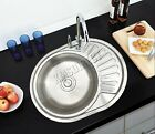 FoxHunter Double 1.0 1.5 Bowl Stainless Steel Kitchen Sink Complete Plumbing Kit