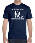 She's Eating For Two I'm Drinking For Three  - Unisex T-Shirt - Pregnancy Reveal