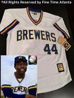 Majestic Hank Aaron Milwaukee Brewers White 1975 76 Mens Throwback Jersey Braves
