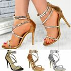 Womens Ladies Barely There Strappy Jewel Diamante Stiletto High Heel Sandal Size