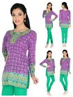 UK STOCK - Women Pakistani Indian Short Kurti Tunic Kurta Top Shirt Dress 73D