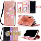 Luxury Bling Strass Glitter Flip Mirror Pu Leather Wallet Card Pocket Case Cover