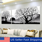 3Pcs Black & White Tree Landscape Oil Painting Canvas Art Print Wall Picture US