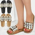 Womens Ladies Flat Slides Diamante Jewel Embellished Comfort Sandals Shoe Size