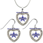Dallas Cowboys 925 Necklace / Earrings or Set Team Heart With Rhinestones on eBay