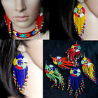 long colourful African beaded dangle earrings bright hand made jewellery