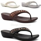LADIES,WOMENS  SUMMER-DIAMANTE-FLIP-FLOP WEDGE NEW SANDALS Size 3 to 8 LLE 5495