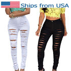 Women High Waist Stretch Skinny Ripped Jeans Pants Pencil Tr