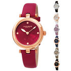 Women's Akribos XXIV AK1044 Heart Embossed Diamond Marker Leather Strap Watch