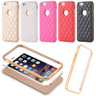 For iPhone SE 5s 6s Luxury PU Leather Gorgeous Back Case Aluminum Bumper Cover