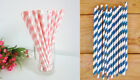 1, 16, 32 64 - Pink or Blue Paper Straws, Party Drink, Drinking Straws, Swirl