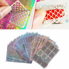 US 24 Sheet DIY Nail Art Hollow Template Stickers Reusable Stamping Stencil Mold