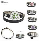 stainless steel Plain 25mm Wrap leather Aromatherapy diffuser locket wristband