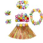 hula costumes - US Kids Hawaiian Hula Grass Skirt Lei Headband Wristband Fancy Dance Dress Skirt