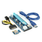 USB 3.0 PCI-E Express 1x To 16x Extender Riser Adapter Card Power Cable lot WO3.