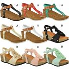 Ladies Womens Wedge Comfort Sandals Cushioned Flip Flops New Footbed Shoes Size