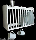 (41007 W) WHITE  kitchen Plate Rack wall mounted  / WOODEN  / NEW