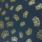 Luxury DENIM Foil CROWNS Fabric Material - LIGHT BLUE