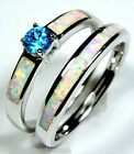 Blue Topaz & White Fire Opal Inlay 925 Sterling Silver Stack Rings Size 6,7,8,9